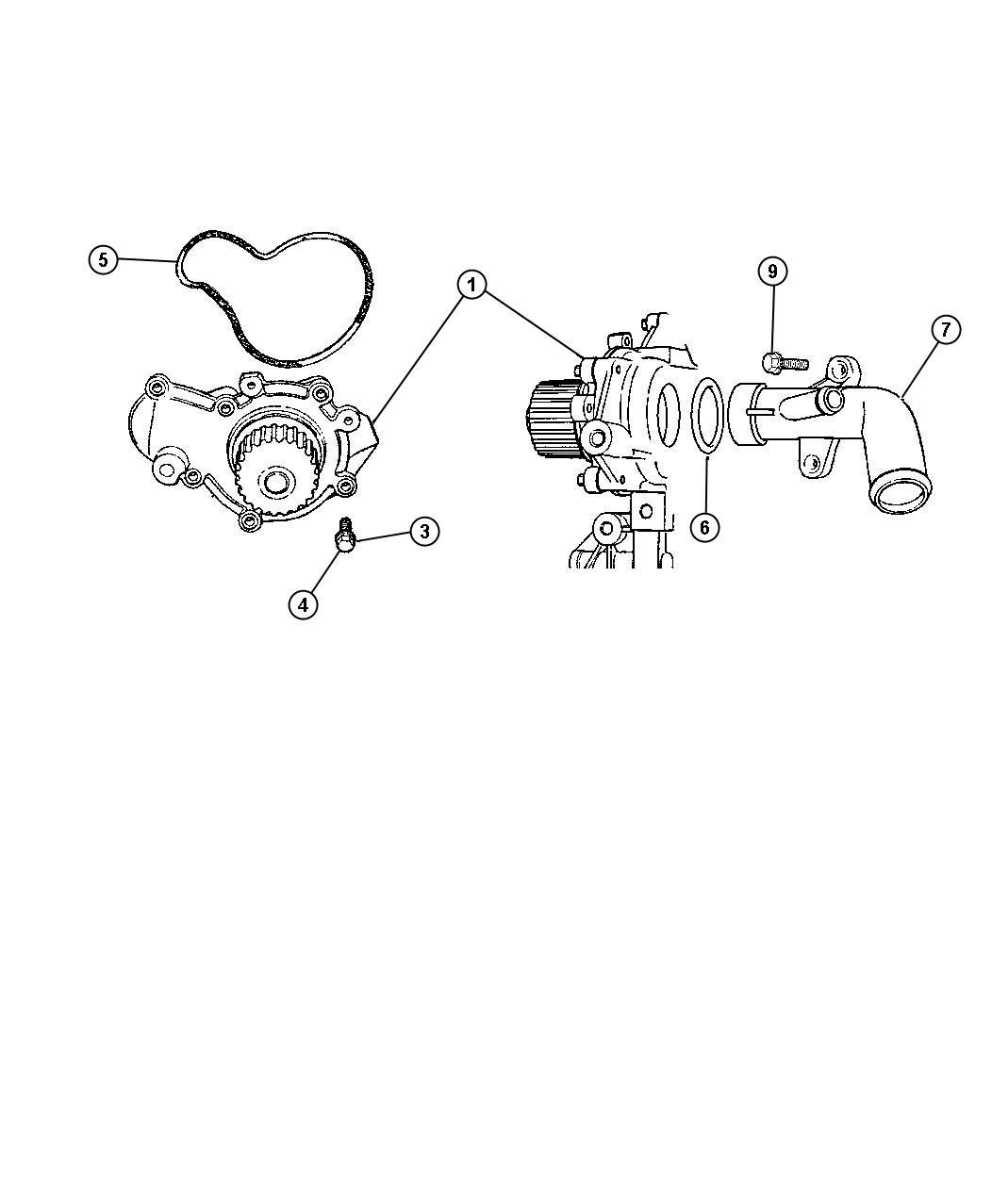 Dodge Grand Caravan Seal Water Pump Body Engine Dohc