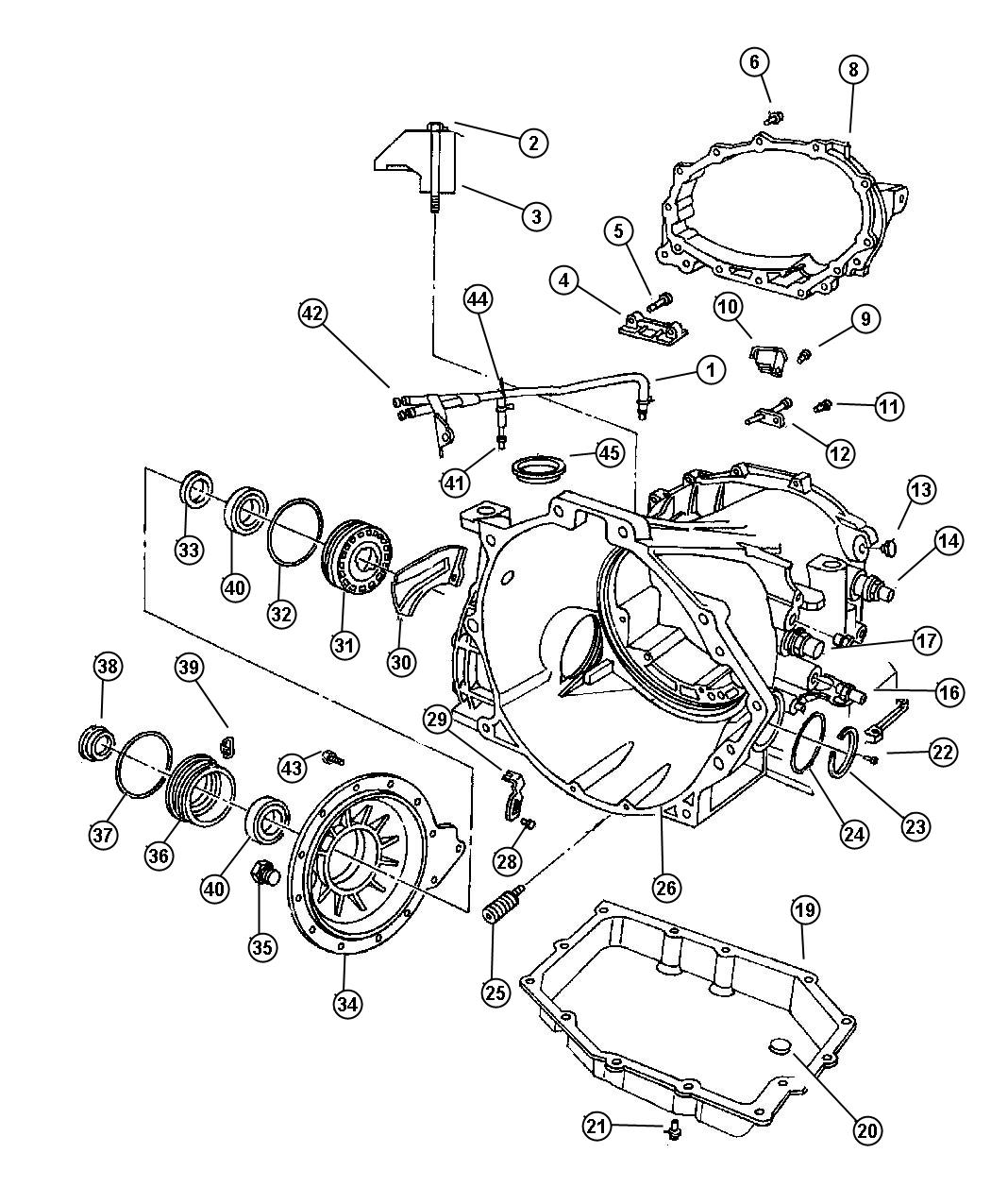 2000 Chrysler Concorde Cover. Transaxle rear. Chain / gear