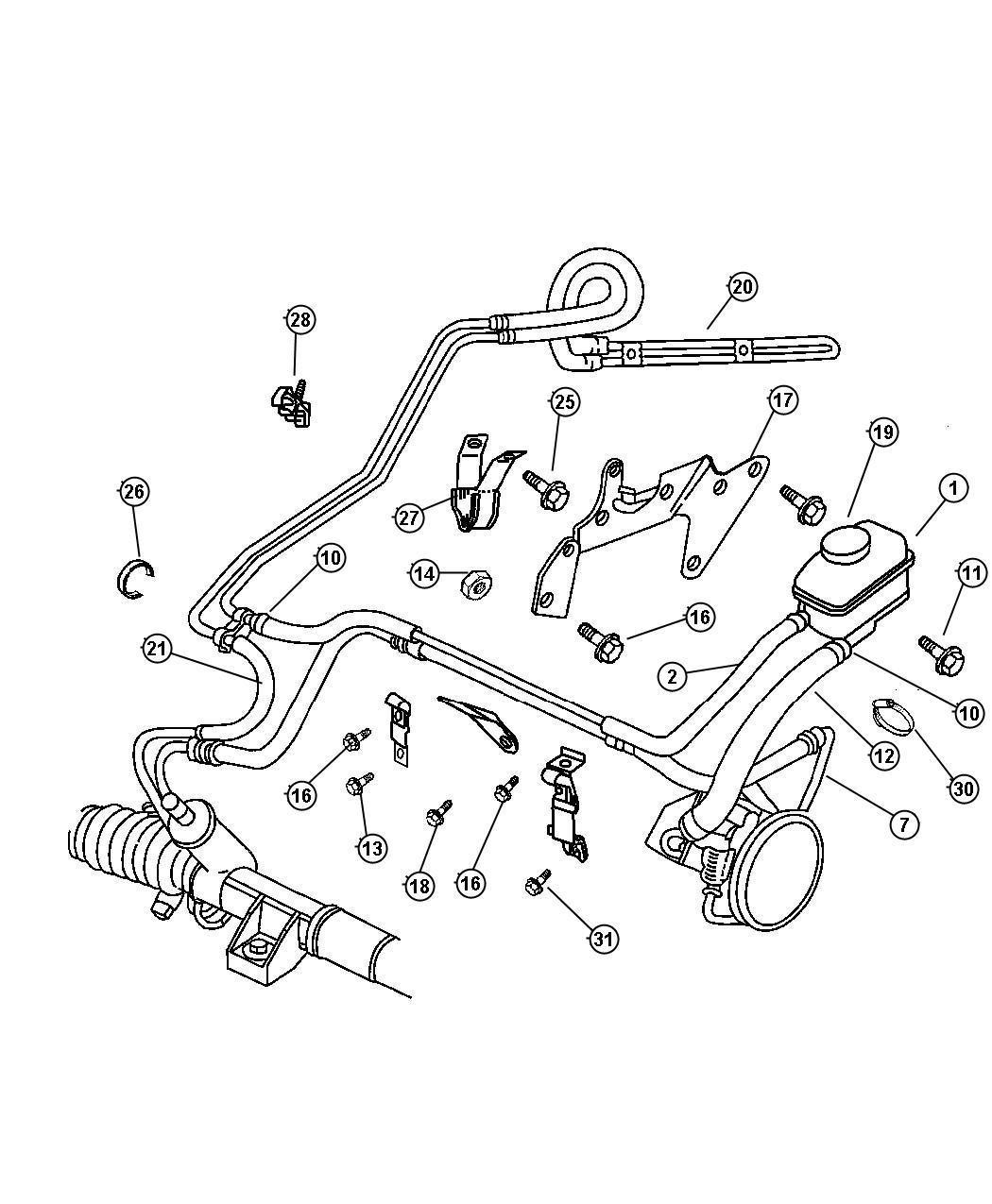 Chrysler Cirrus Clip. Oil tube, tube. Mounting, oil cooler