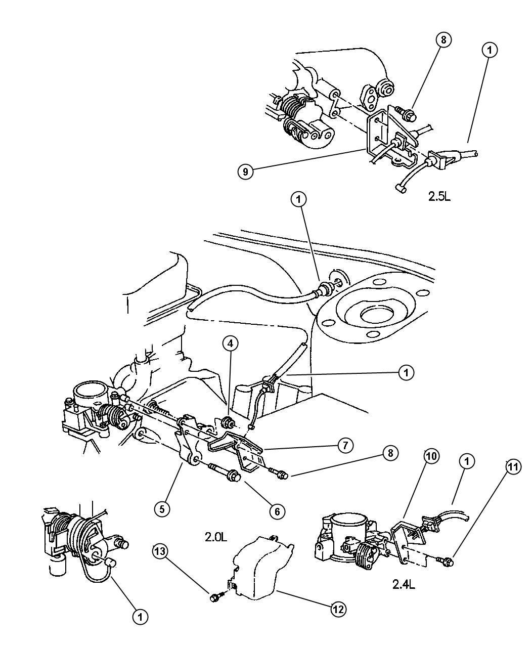 1998 Chrysler Cirrus Grommet. Throttle control cable