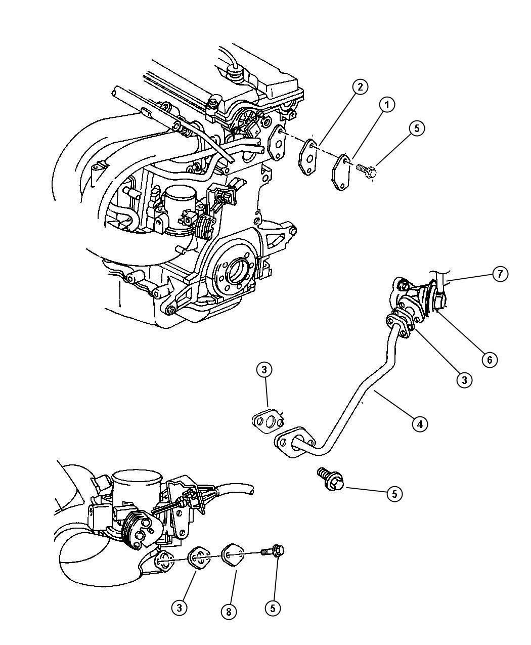 Chrysler Voyager Gasket Egr Tube Flange 2 7l V6 Dohc 24