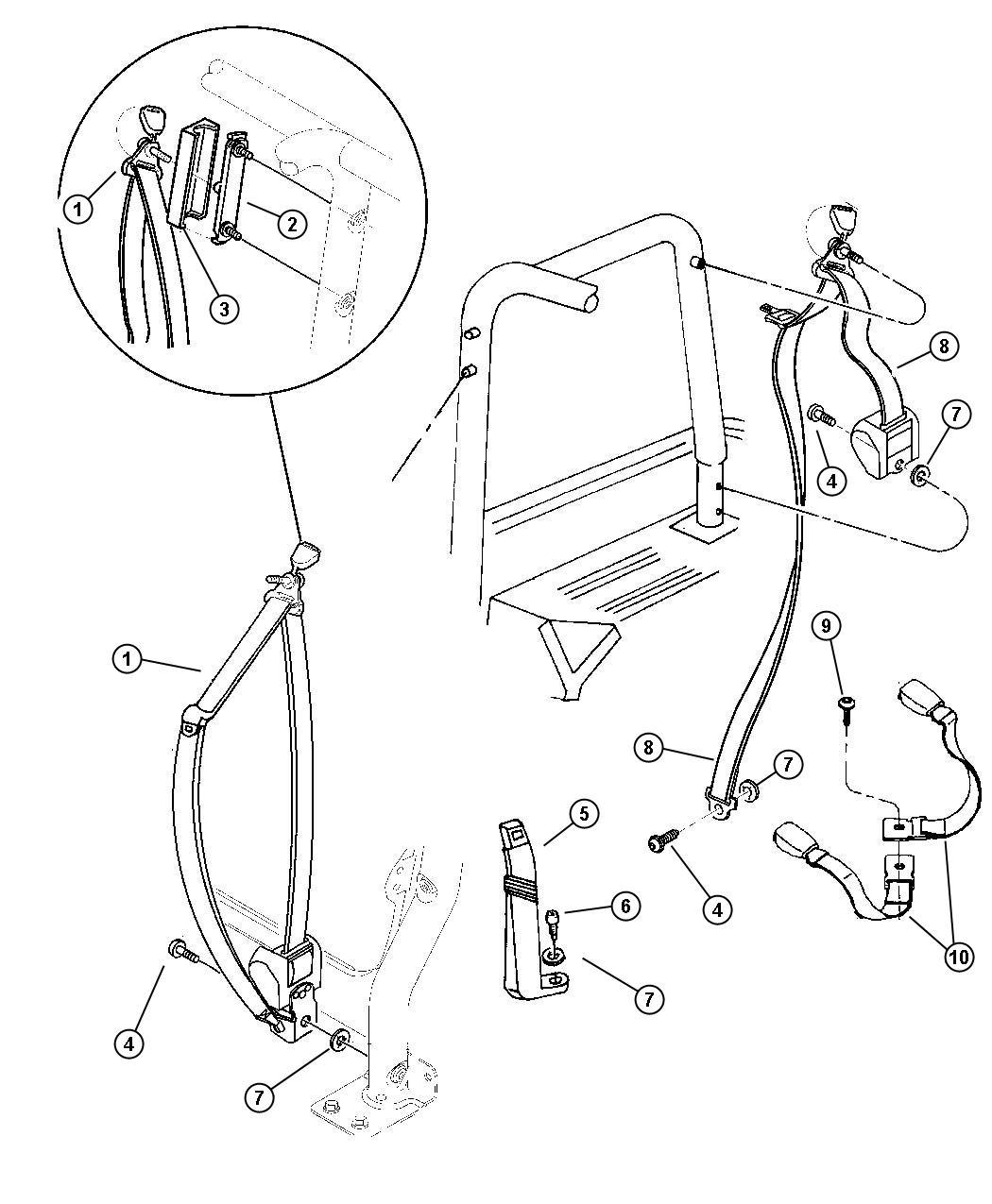 Jeep Grand Cherokee Adjuster Seat Belt Turning Loop