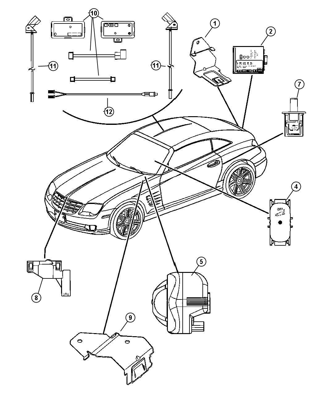 2004 Chrysler Crossfire Bracket. Alarm system. Alarm