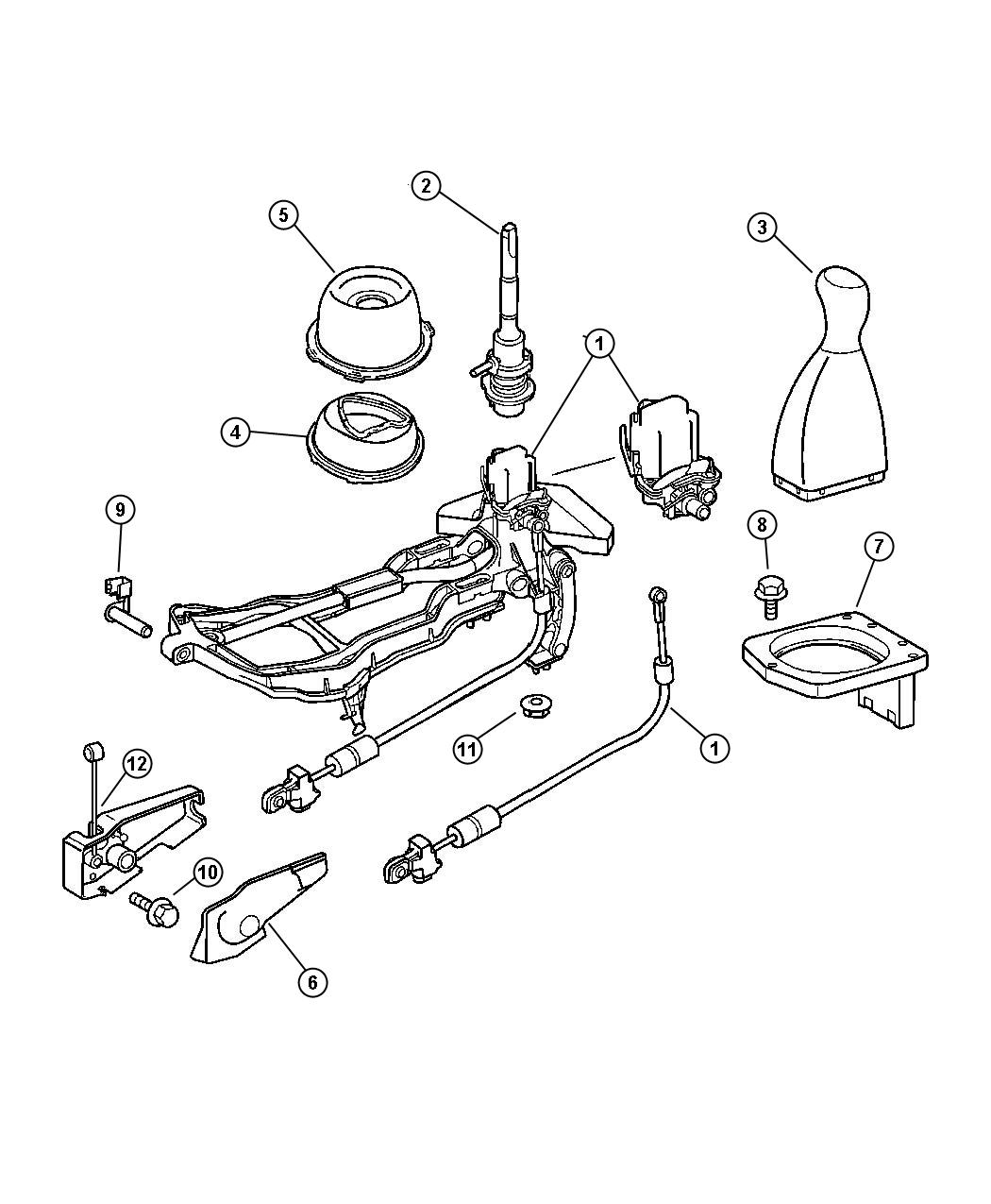 2006 Chrysler Crossfire Boot. Gearshift lever. Inside