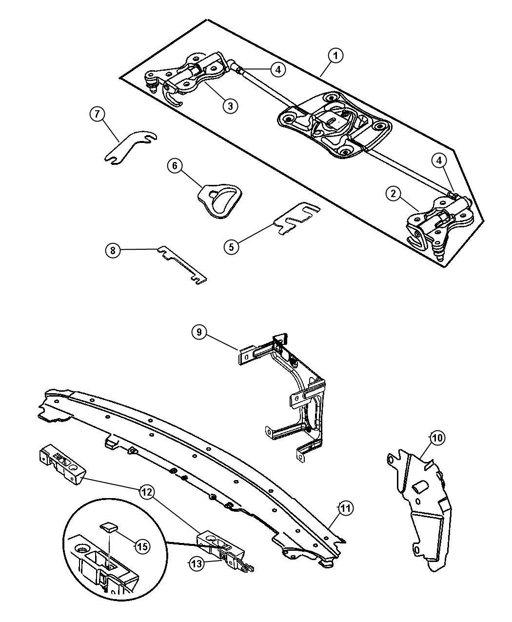 Chrysler Crossfire Guide. Latch pin. Assembly, body