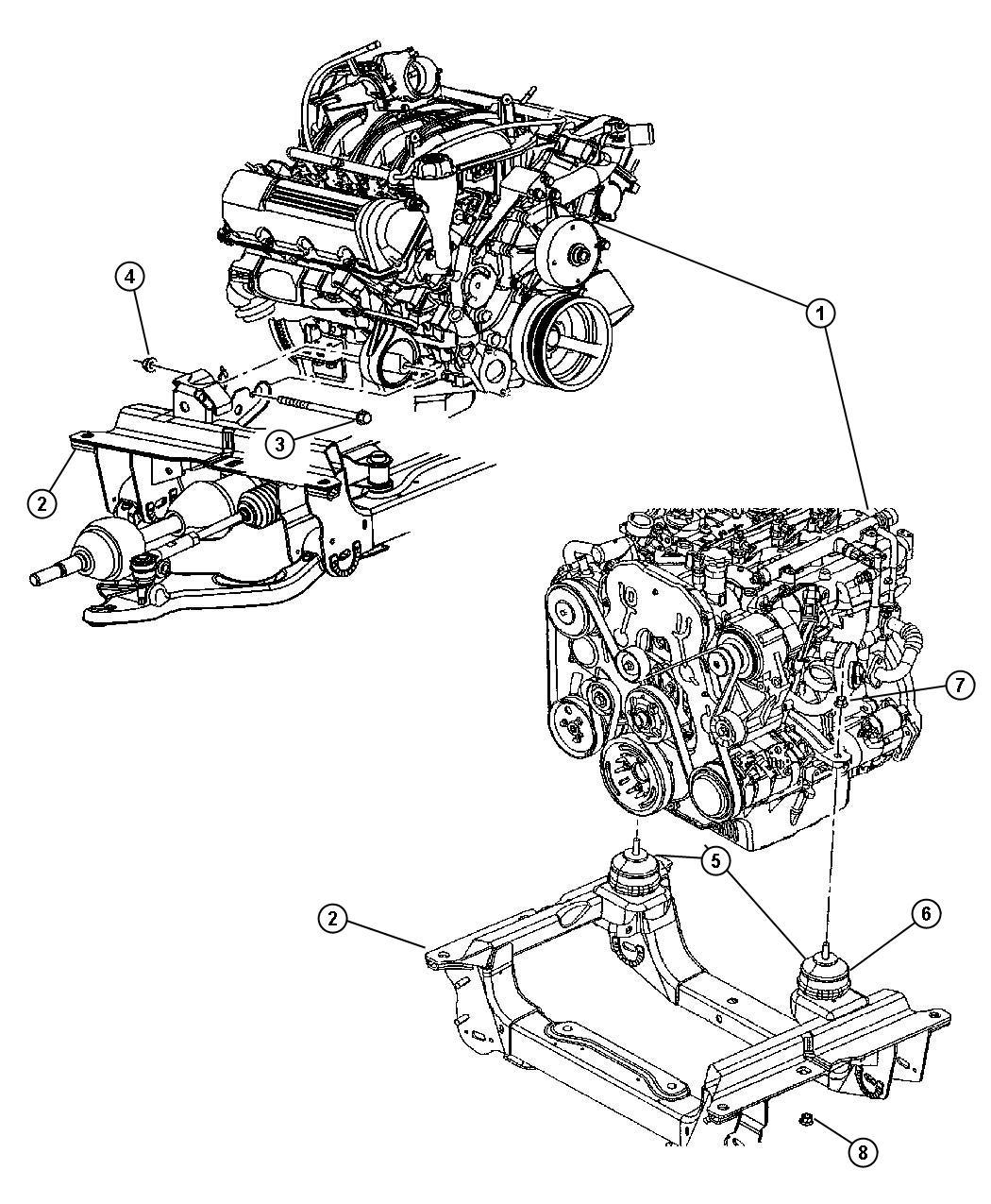 2006 Jeep Liberty Insulator. Engine mount. Shield, mounts