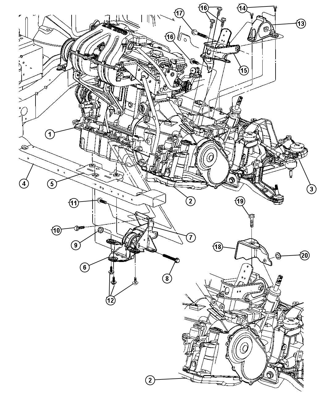 Chrysler Voyager Support Transmission Engine