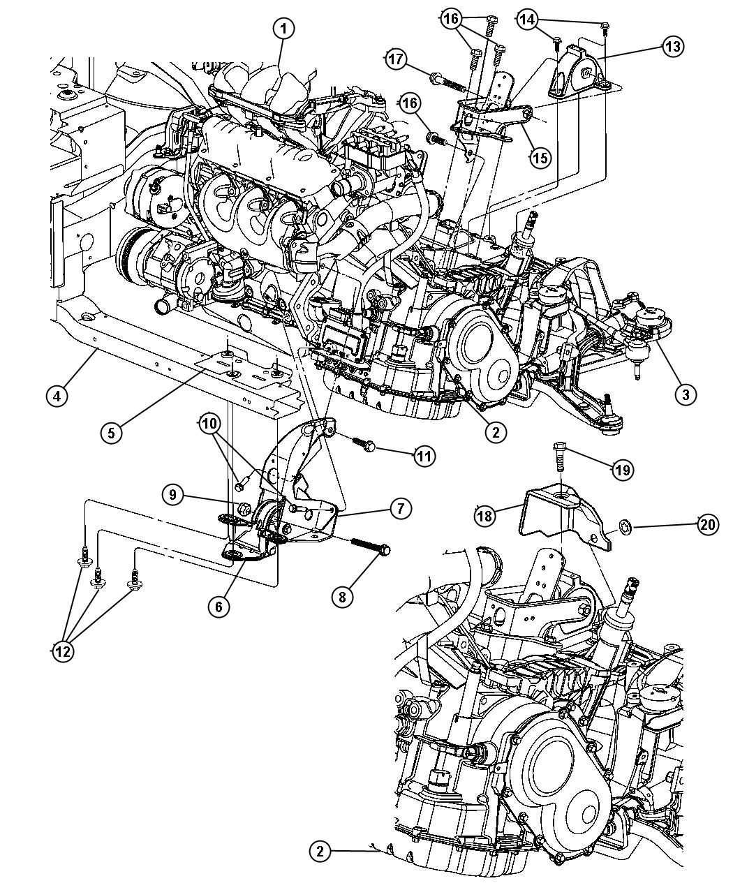 Chrysler Town & Country Bracket. Transmission support