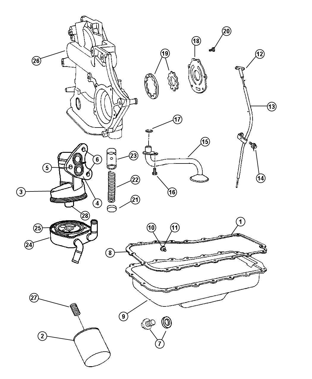 Dodge Caravan Gasket Seal Engine Oil Cooler Oiling