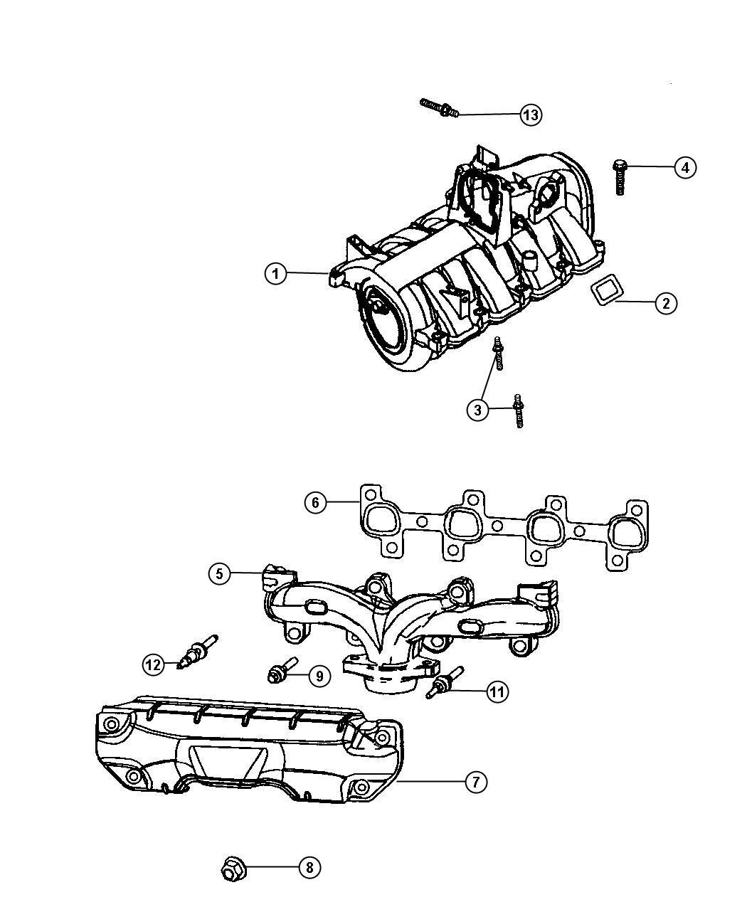 Dodge Avenger Manifold Exhaust Right Eva Intake