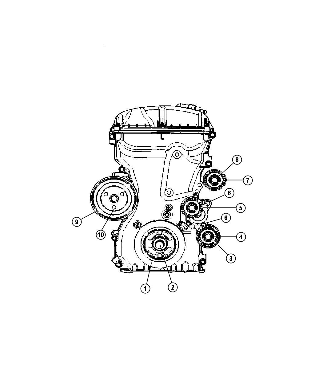 Dodge Caliber Pulley. Water pump. Engine, dual, vvt