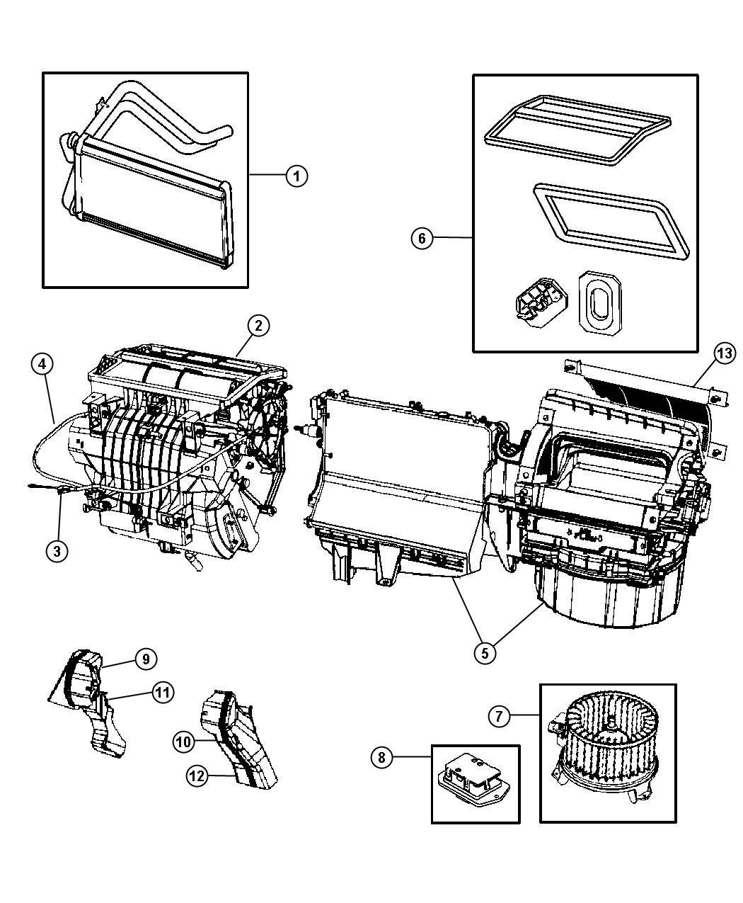 2007 Dodge Caliber Housing. Blower motor. Door, coupler