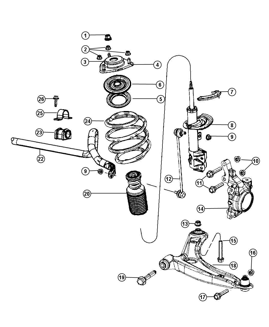 Dodge Caliber Retainer. Stabilizer bar grommet, sway bar