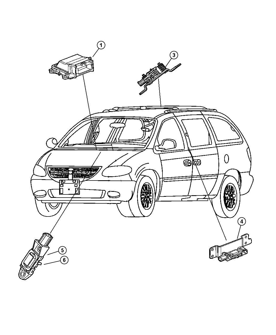 Dodge Grand Caravan Sensor Side Airbag Impact Right B Pillar Rows Curtain Bags