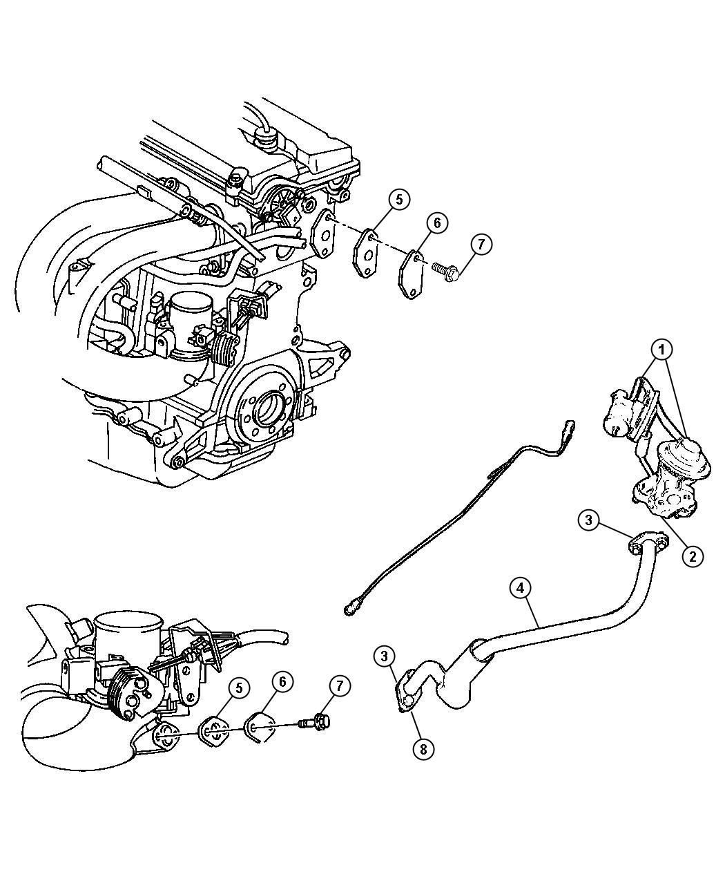 2005 Dodge Caravan Tube. Egr. System, related, mopar
