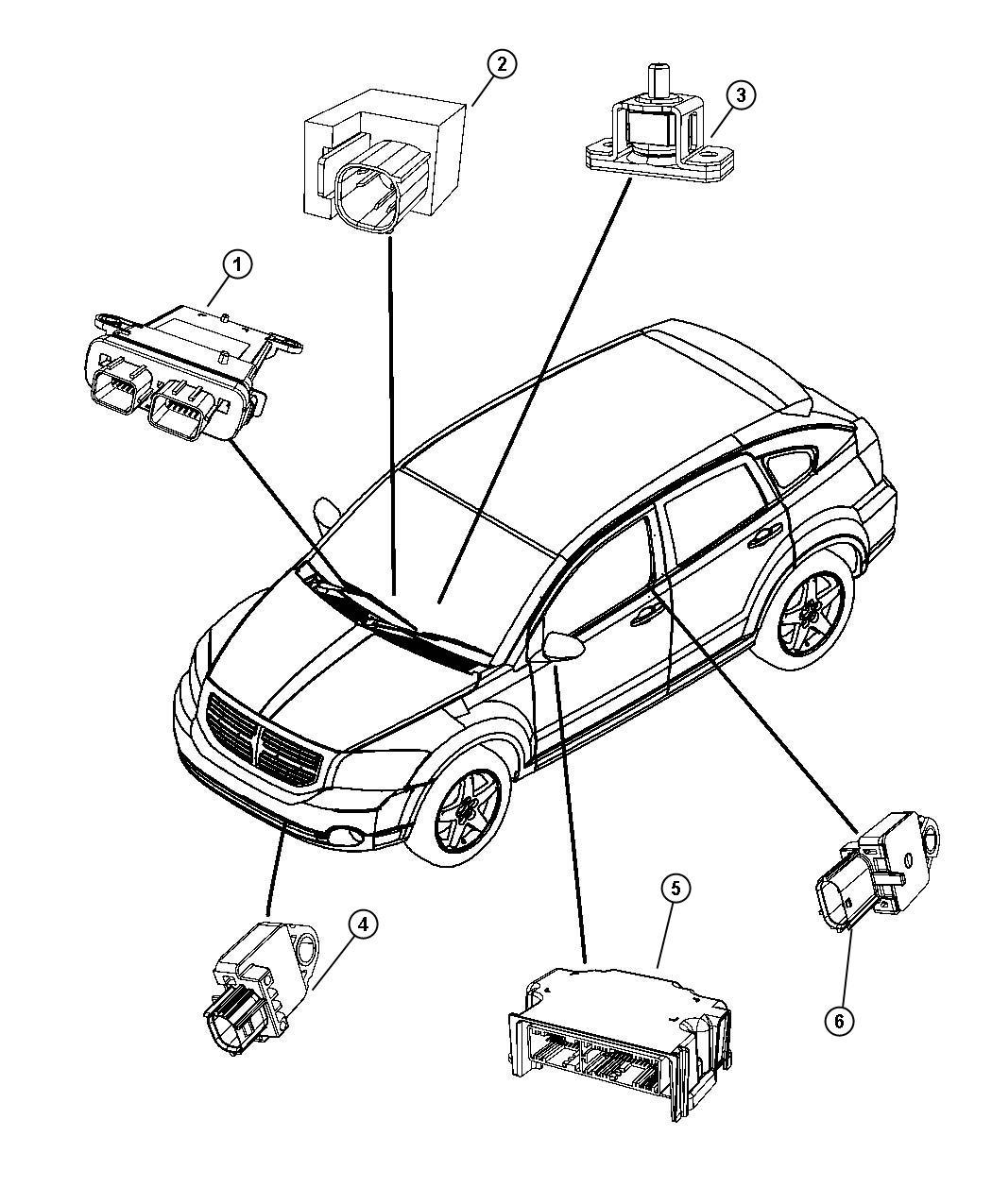 Dodge Caliber Module. Occupant classification. Trim