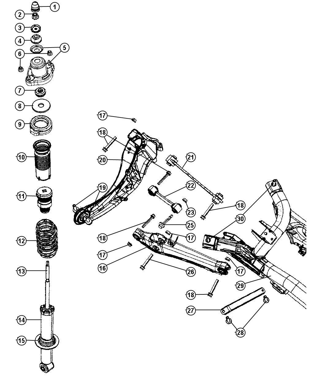 2010 Jeep Patriot Shock absorber. Suspension. Rear. [sdc