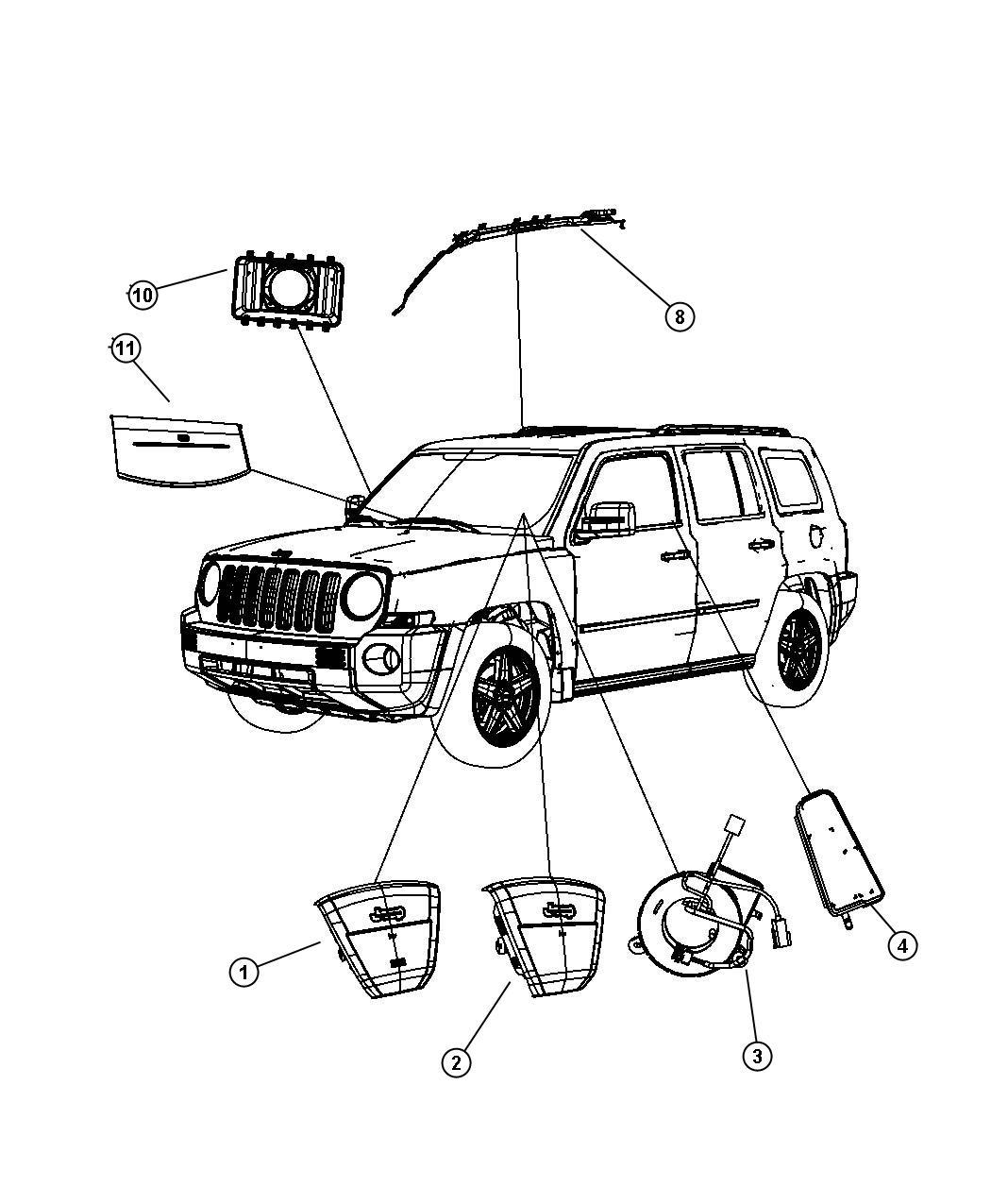 2007 Jeep Patriot Air bag. Driver. Trim: (*o0.)color: (-dv