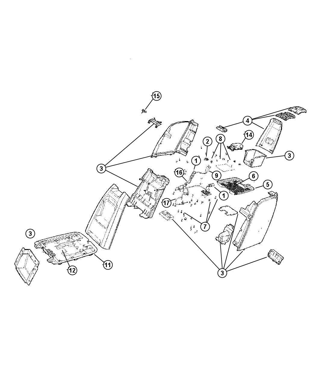 Dodge Caravan Bracket. Console, console tray. [removable