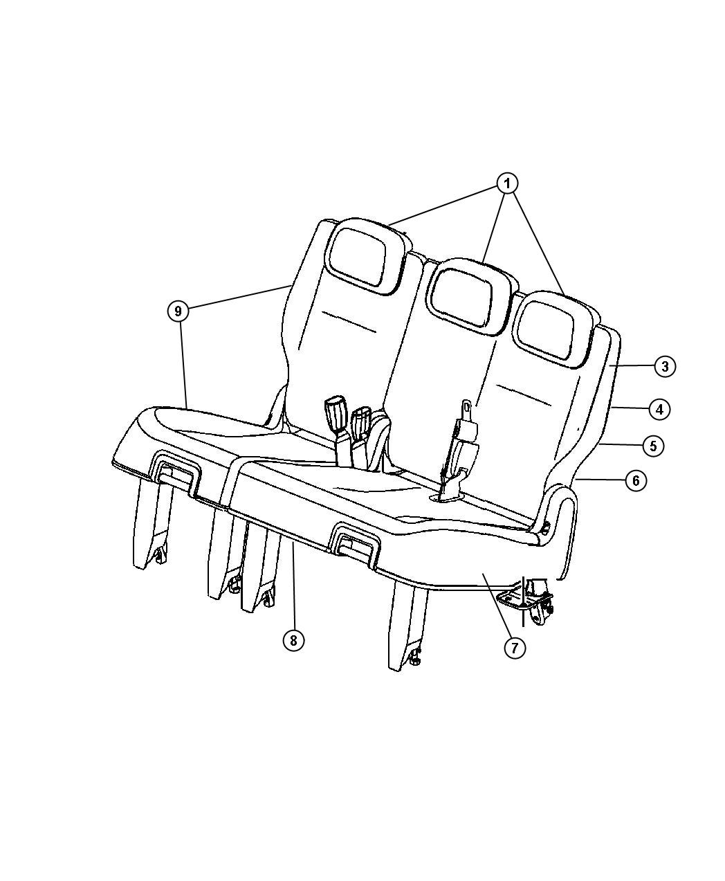 Dodge Caravan Seat complete. Rear. 60/40 bench. Left. [d5