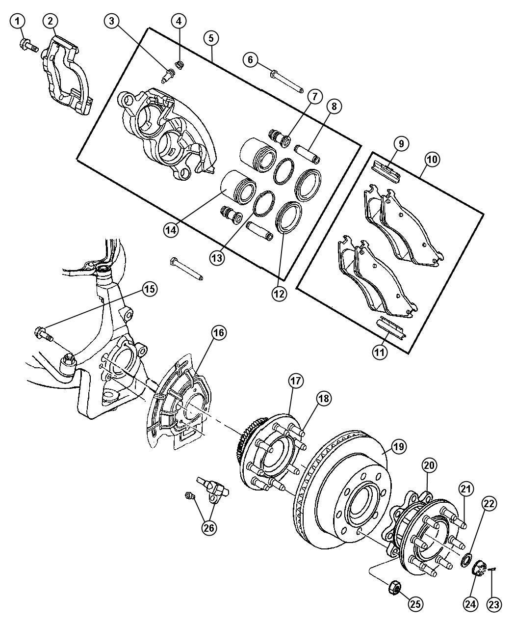 2007 Dodge Ram 3500 Pad kit. Front disc brake. Brakes