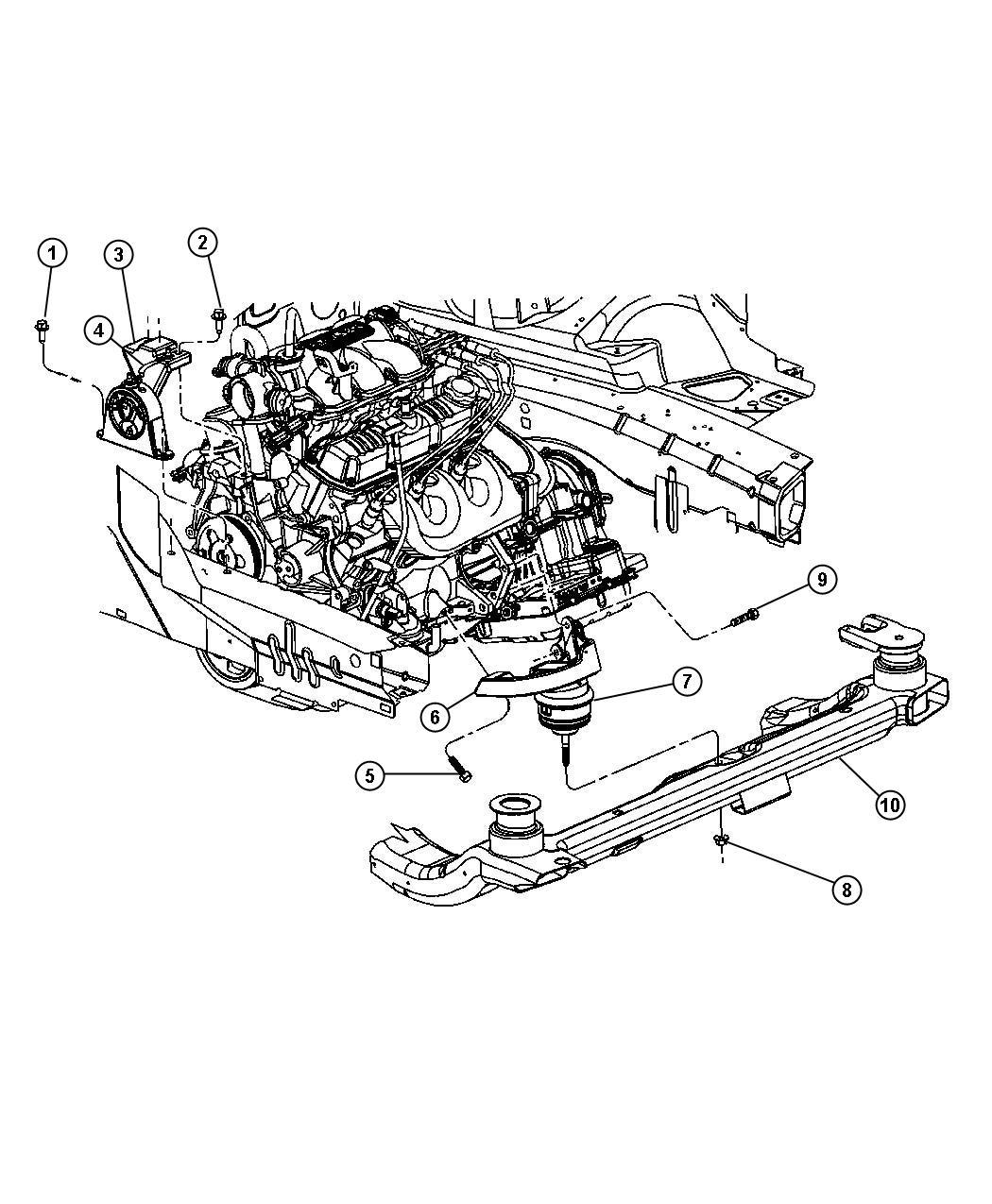 2008 Chrysler Pacifica Isolator. Rear. Engine mount. Rear
