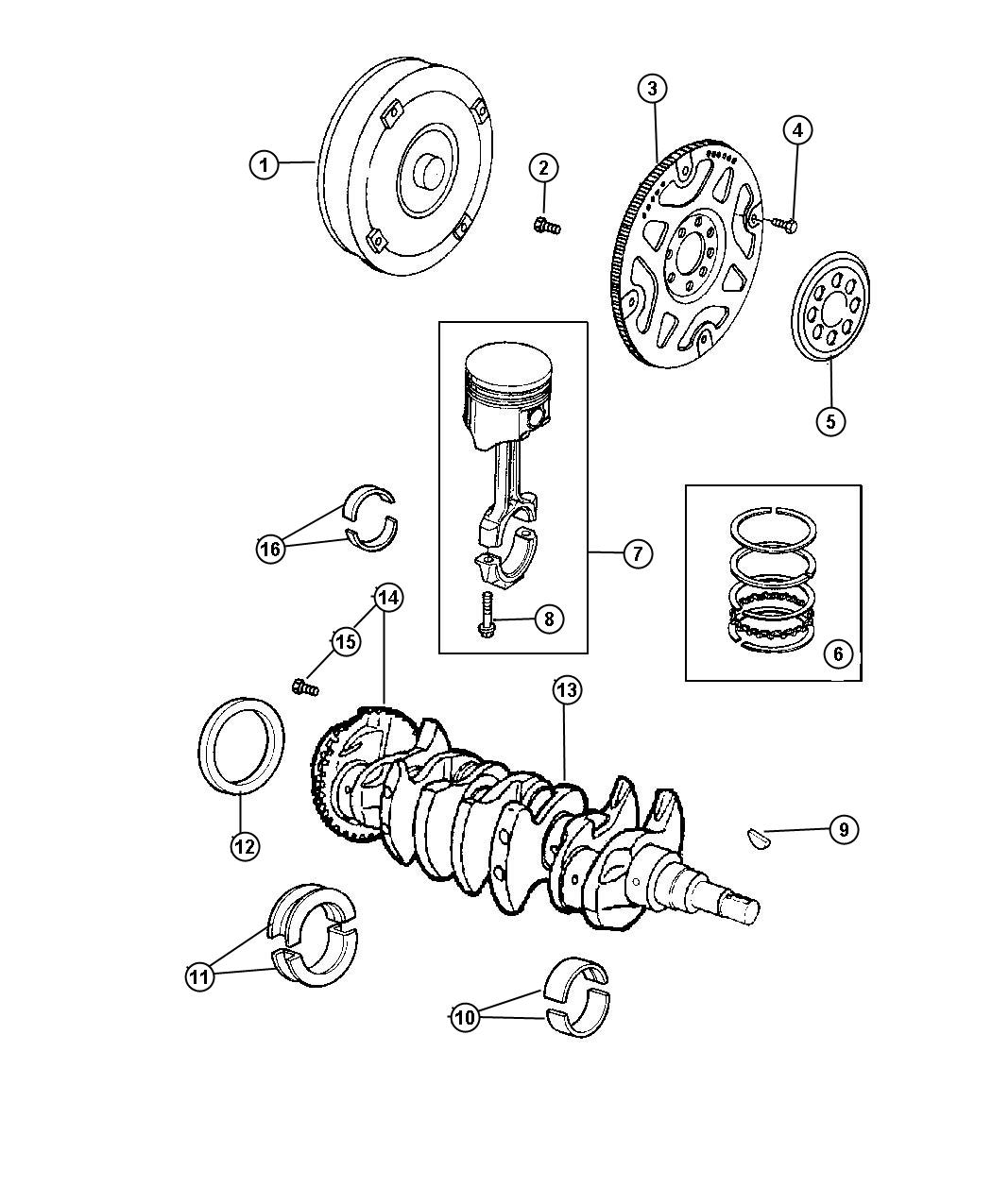 2000 Dodge Caravan Bearing kit. Crankshaft thrust. Std