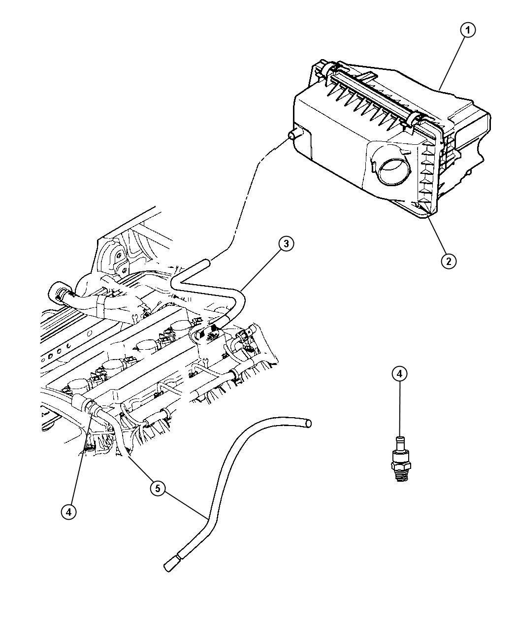 2007 Jeep Patriot Hose. Pcv, pcv valve. With 15mm nipple