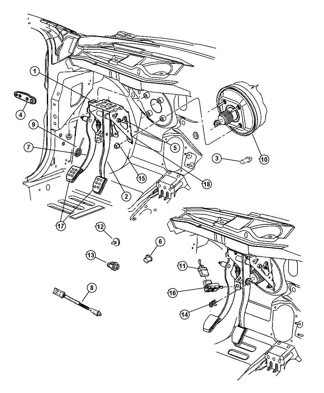 2007 Chrysler PT Cruiser Bushing. Pedal shaft. Automatic