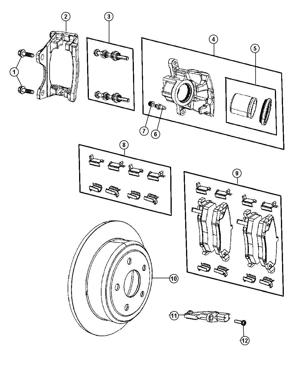 2007 Jeep Wrangler Pad kit. Rear disc brake. Magneti
