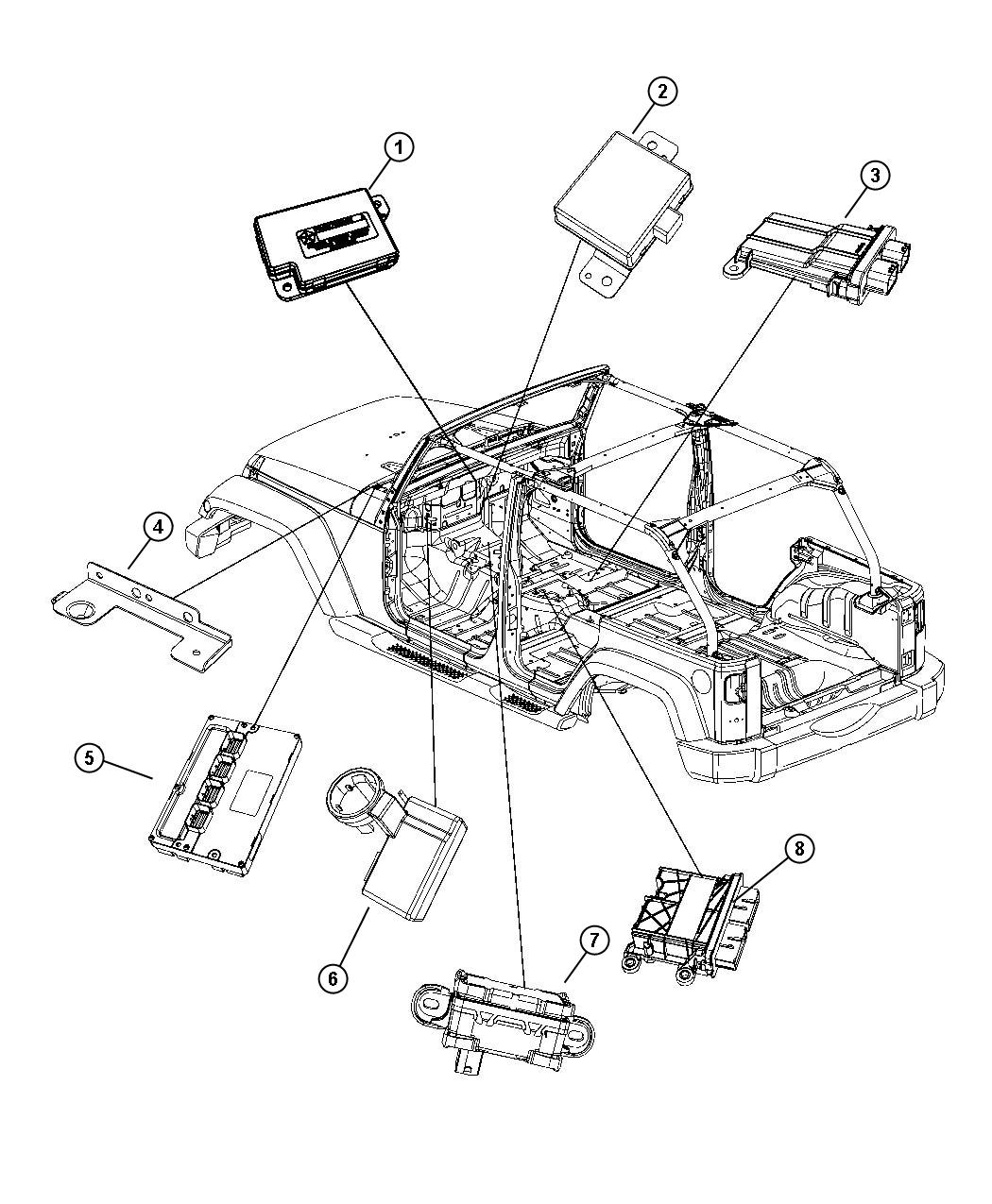 Jeep Wrangler Module. Occupant restraint. Air, bags, seat