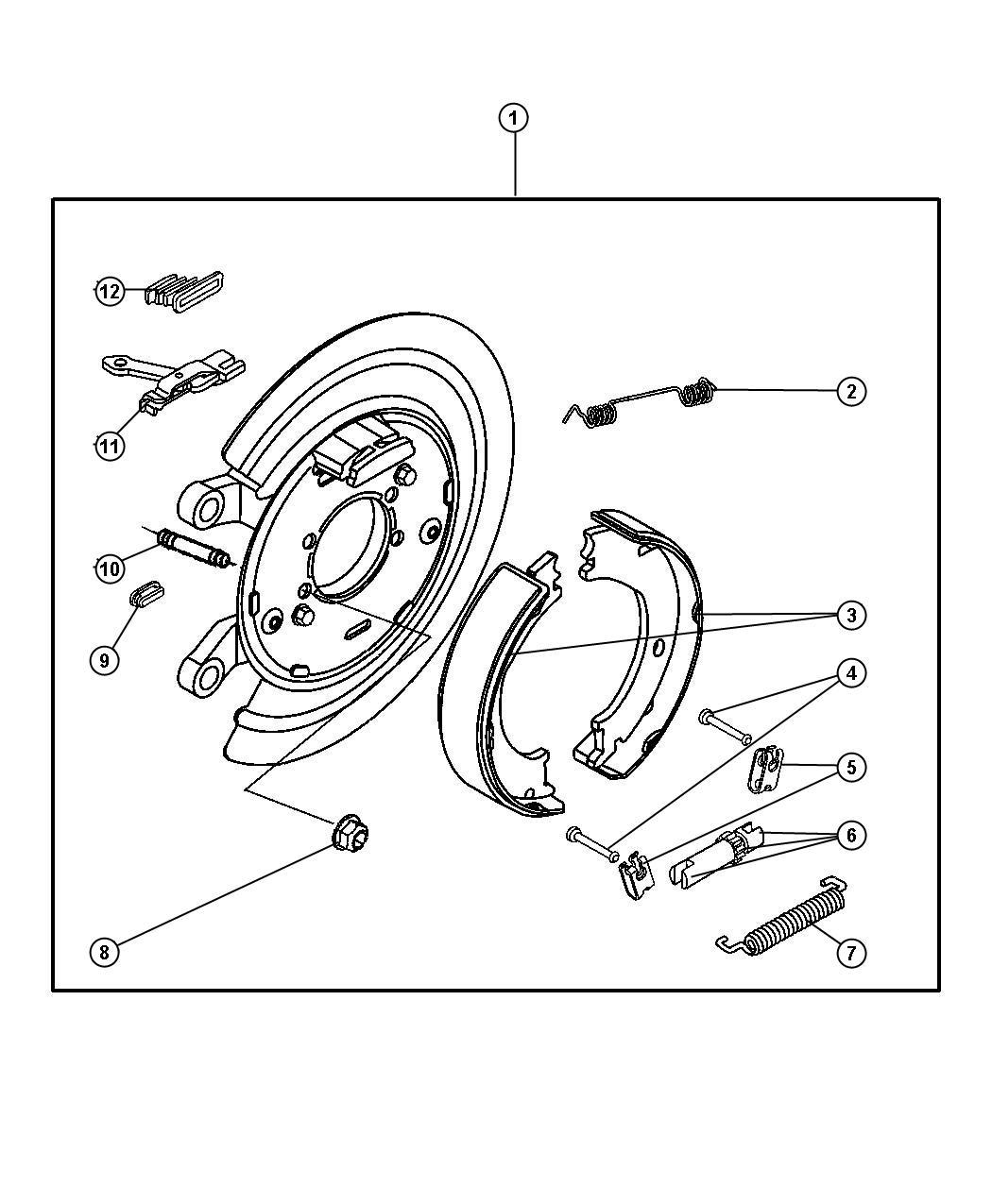 2013 Jeep Patriot Shoe kit. Parking brake. Contains 4