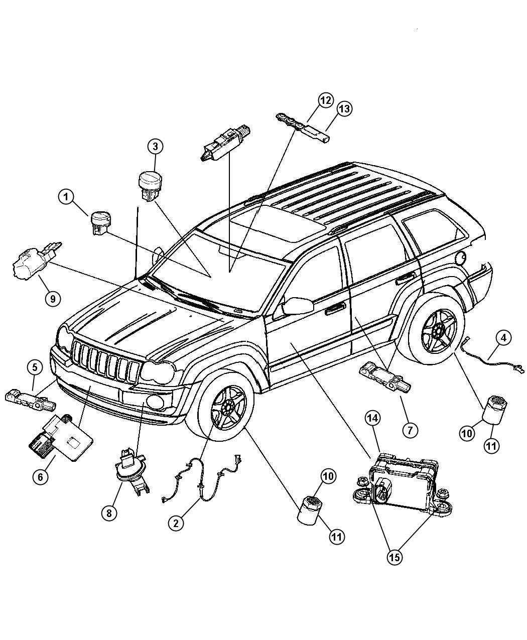 Jeep Grand Cherokee Sensor. Impact, side airbag impact