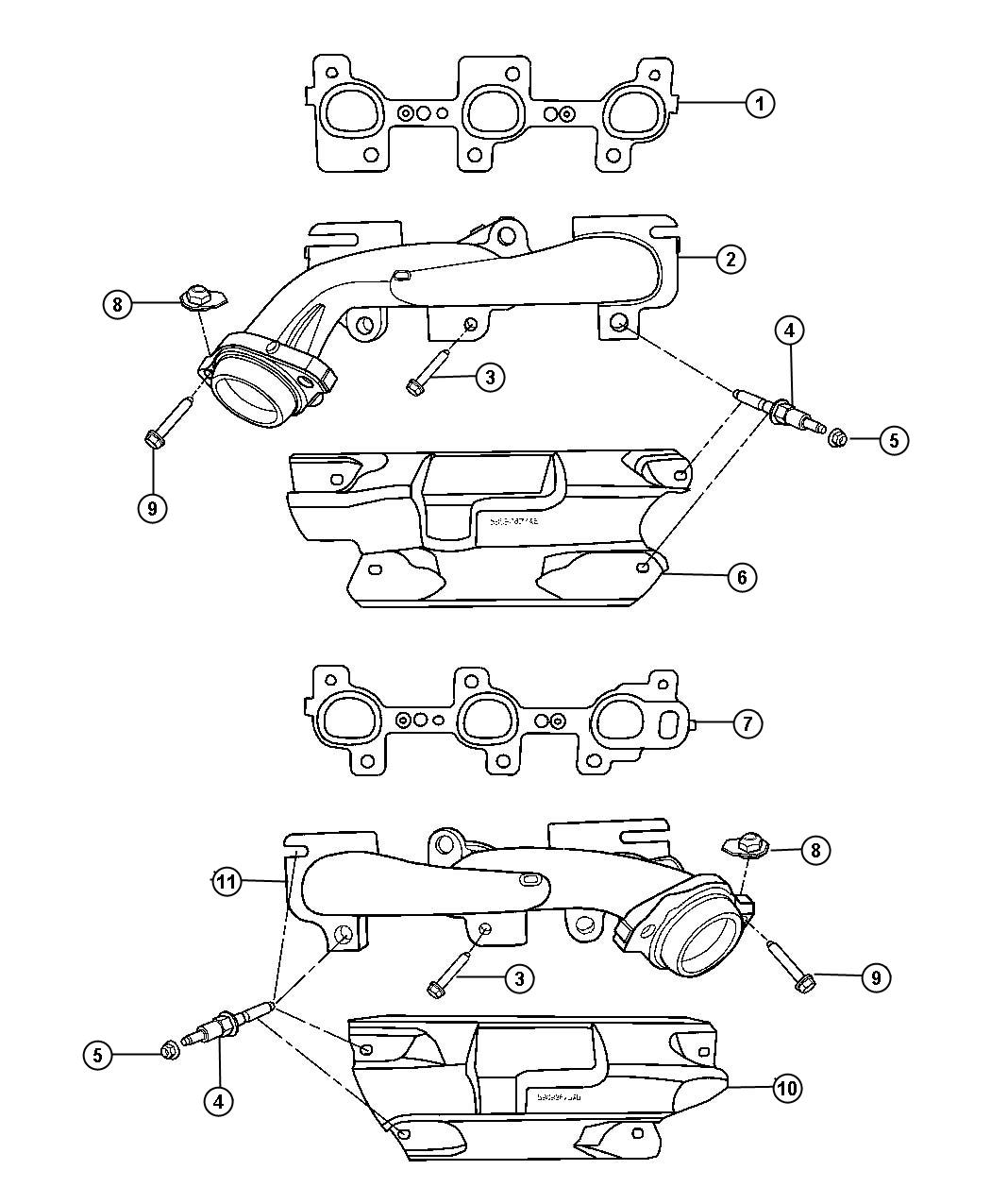 2007 Jeep Grand Cherokee Manifold. Exhaust. Right side