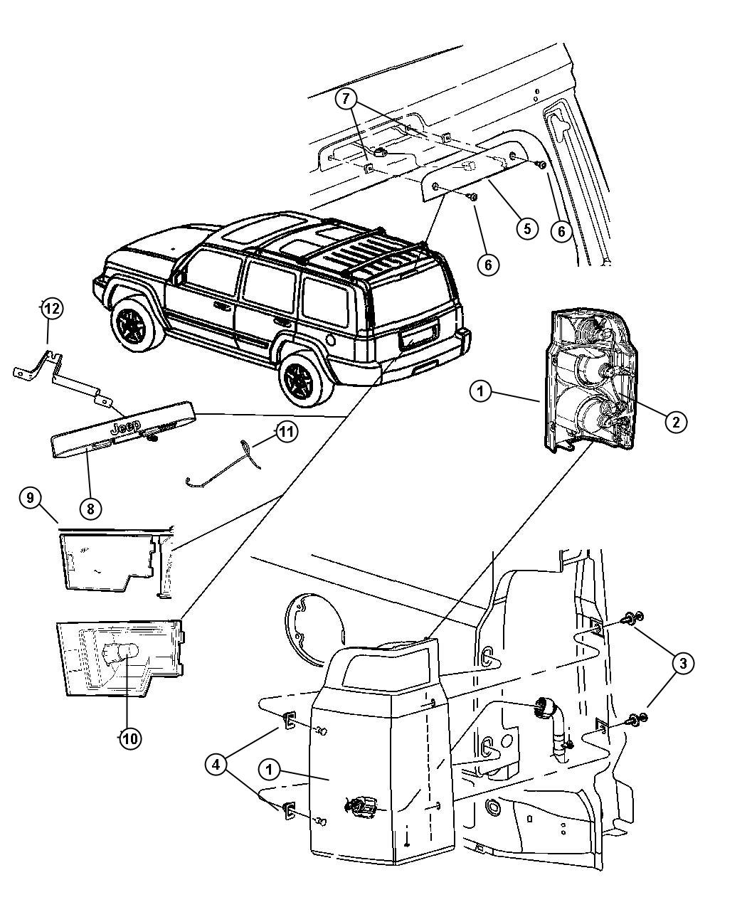 2008 Jeep Commander Handle. Liftgate. Color: (-x8