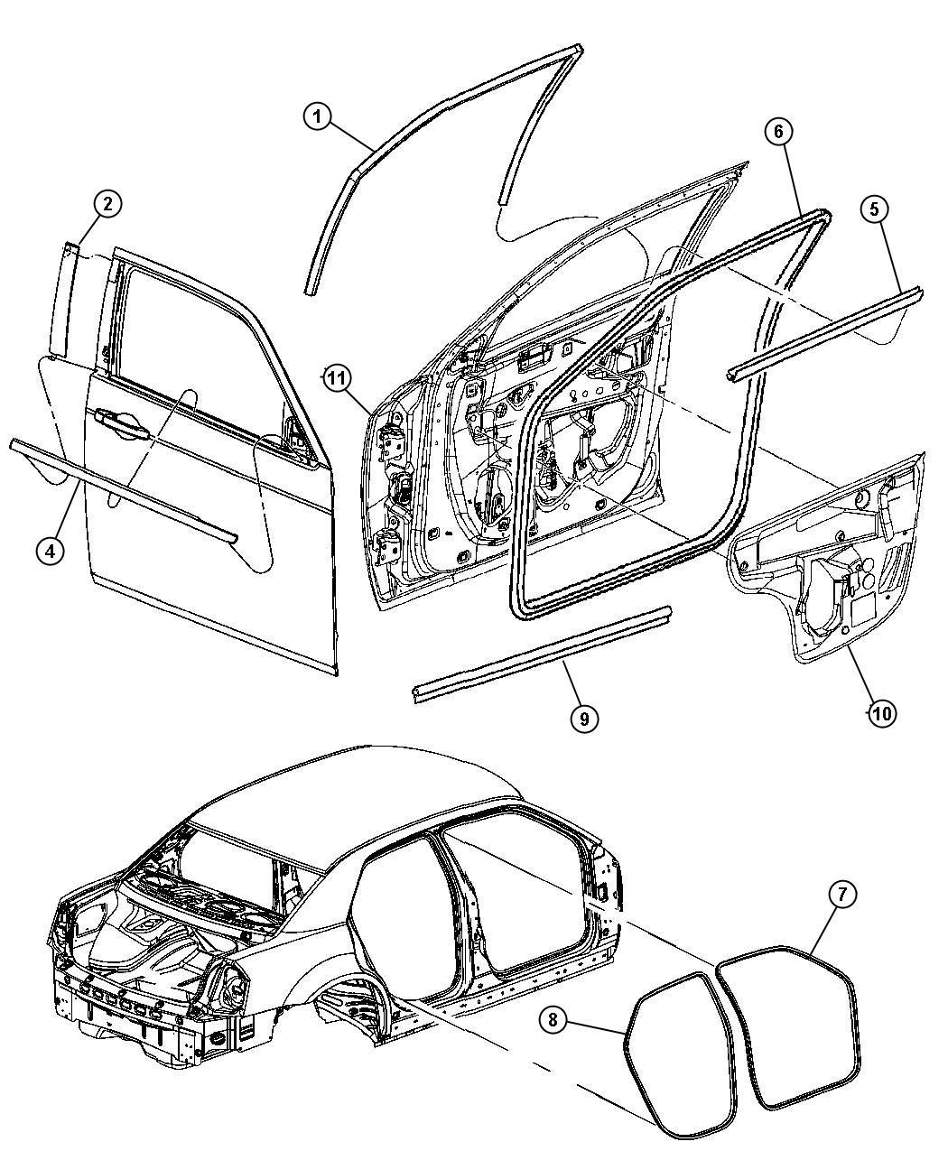 2007 Dodge Charger Weatherstrip. Front door belt. Left