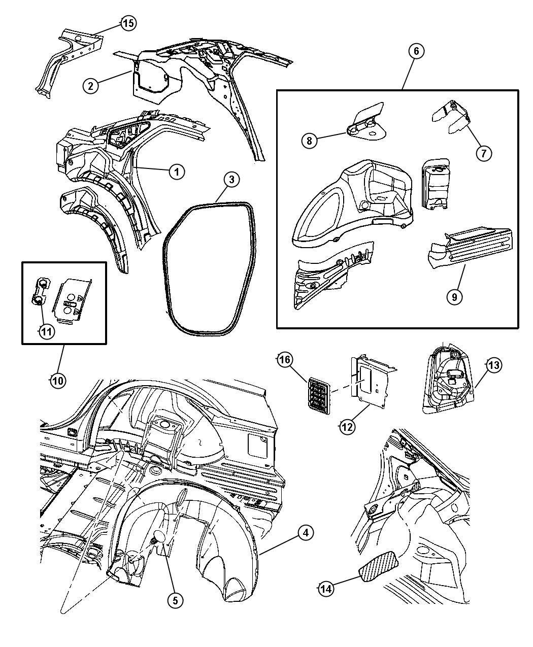 2007 Chrysler 300 Panel. Taillamp mounting. Right. Quarter