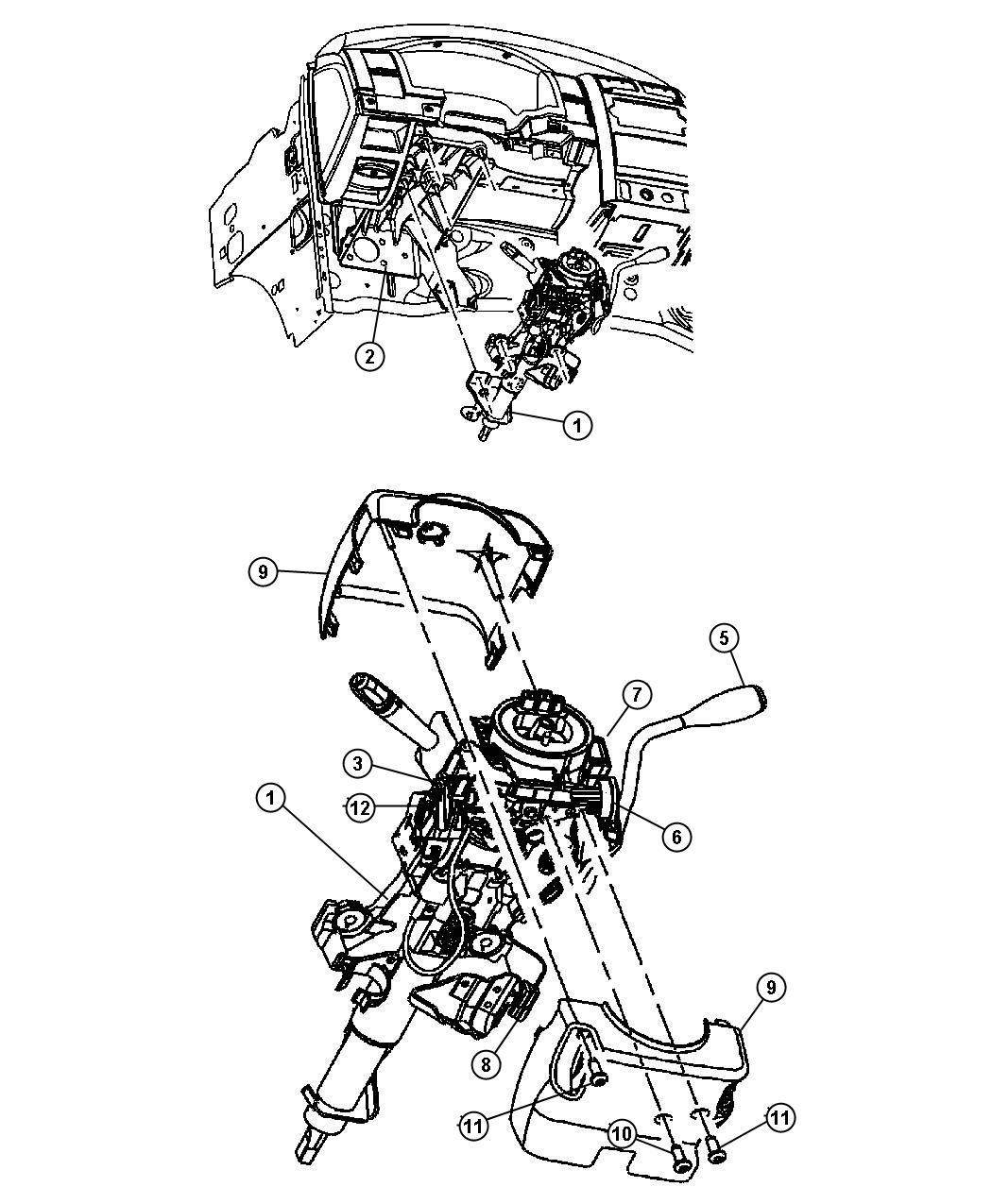 2007 Chrysler Aspen Knob. Tilt lever release. [tilt