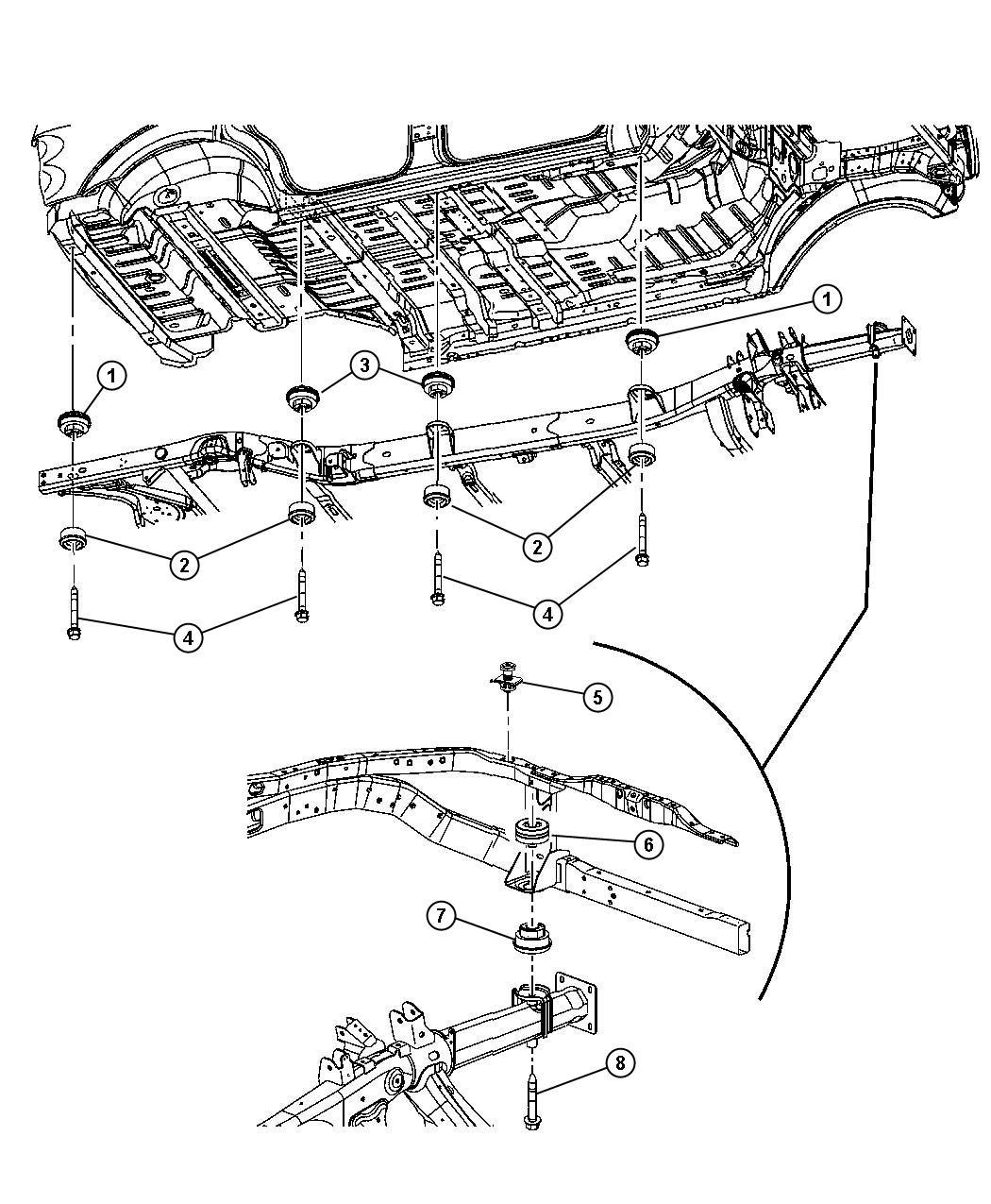 Dodge Durango Isolator. Frame to body. Hold, down, mopar