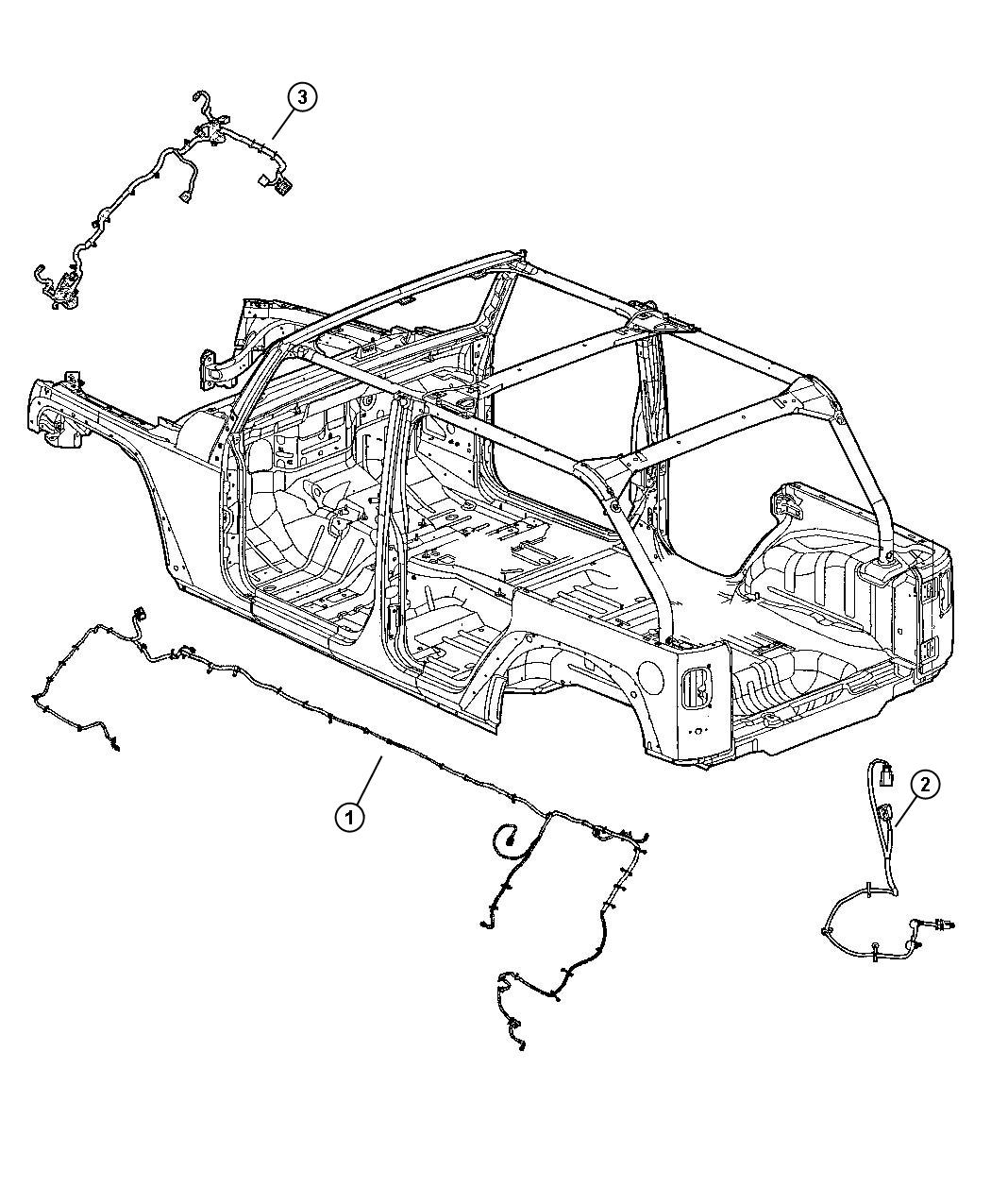 Jeep Wrangler Wiring. Chassis. Export. Dse, front, shg