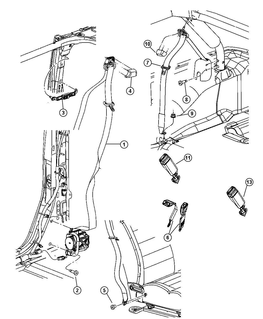 2007 Jeep Wrangler Seat belt. Front outer. Left. Trim