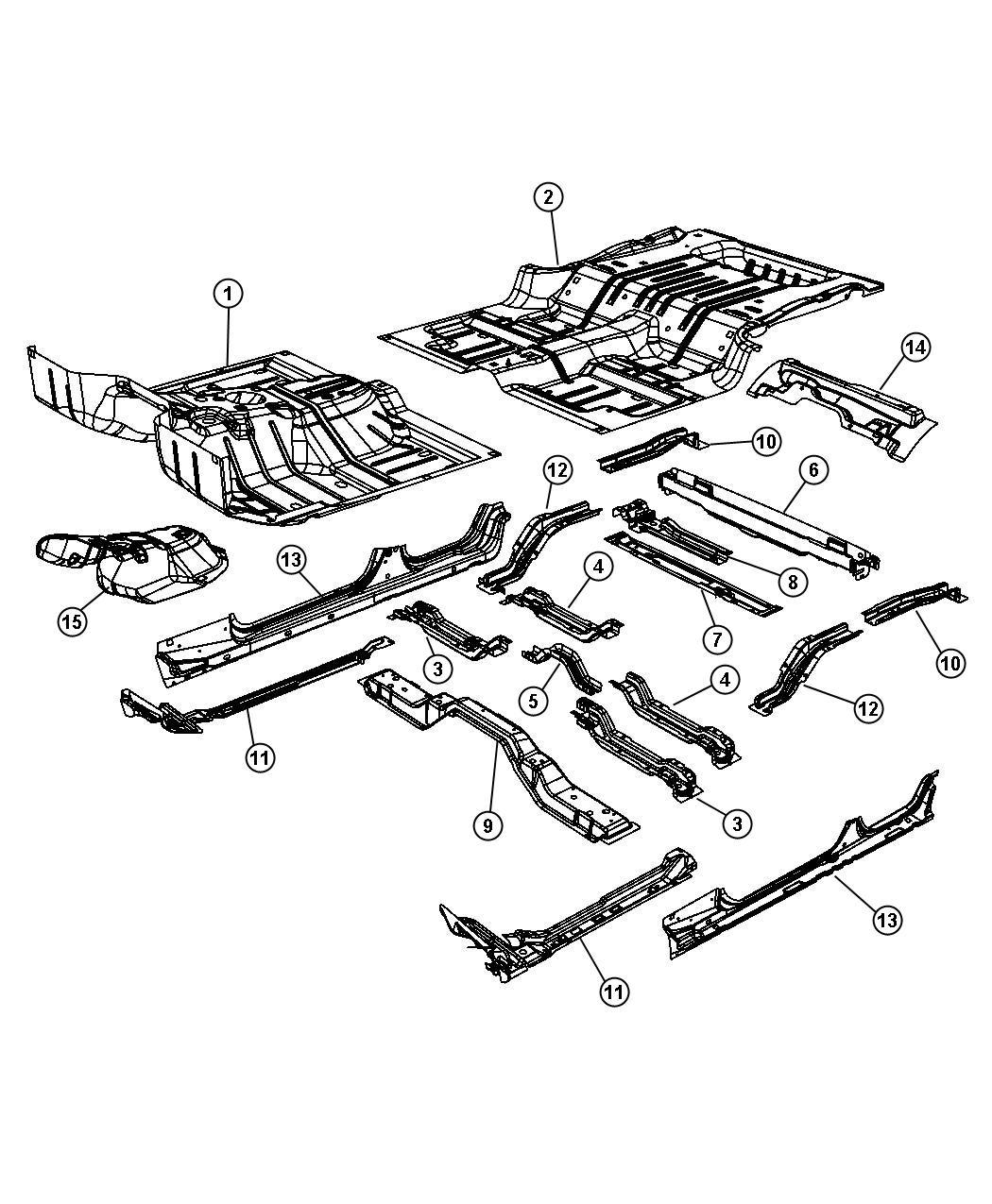 Jeep Wrangler Ladder Rear Floor Left Body Pan