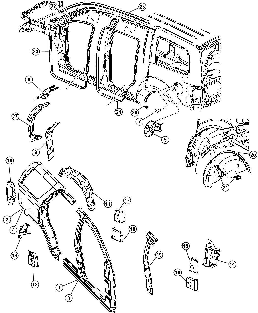 2008 Chrysler Aspen Shield. Left. Splash. Wheelhouse. Rear