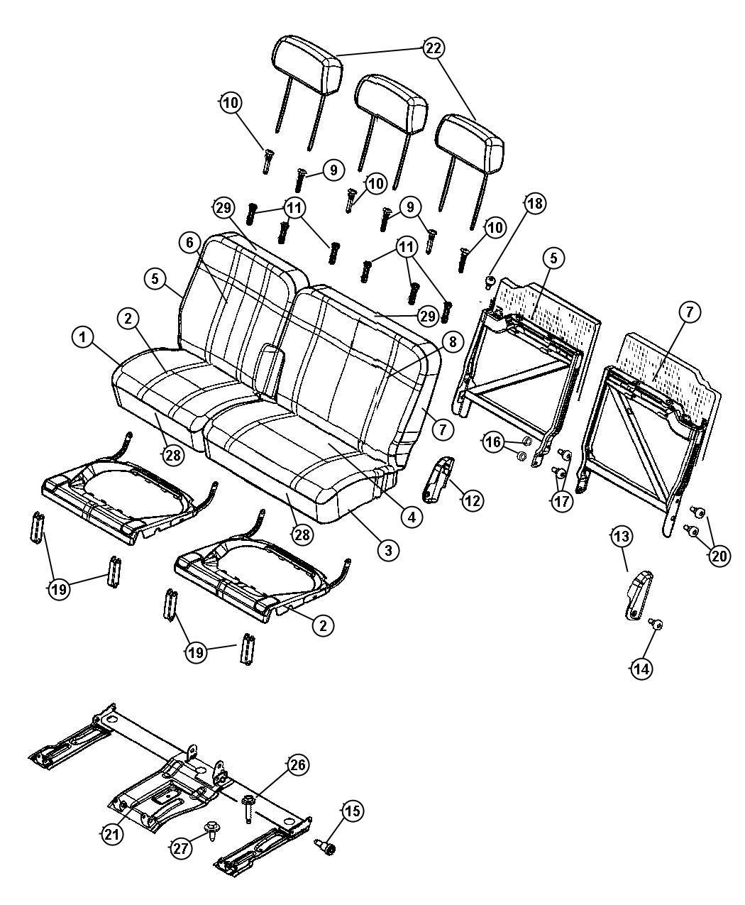 Chrysler Aspen Cover. Rear seat back. Trim: [cloth bucket