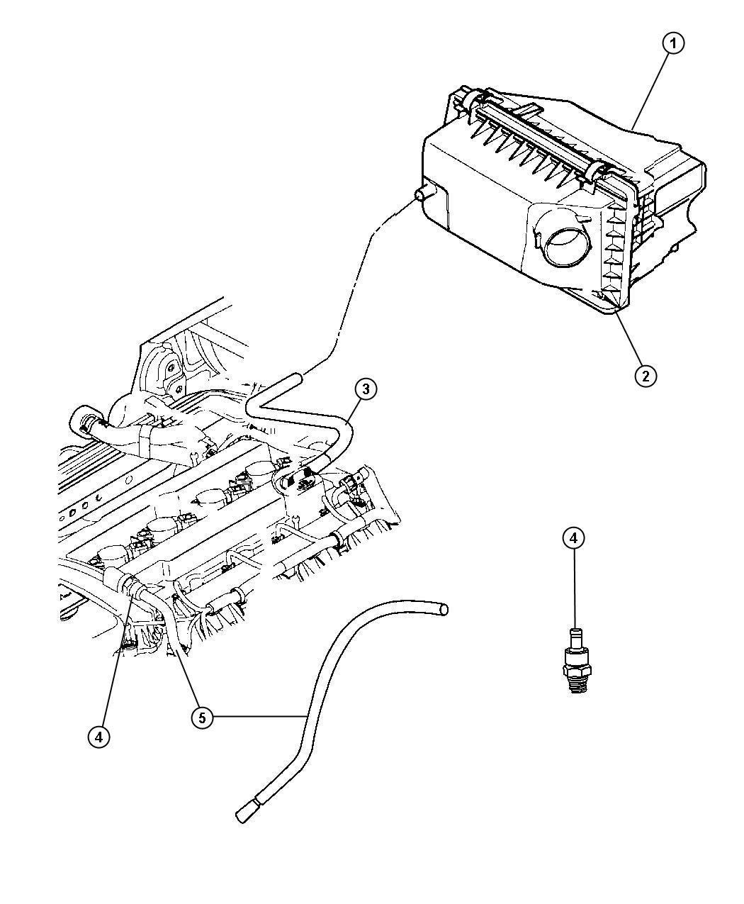 Chrysler Sebring Hose. Crankcase vent, pcv valve