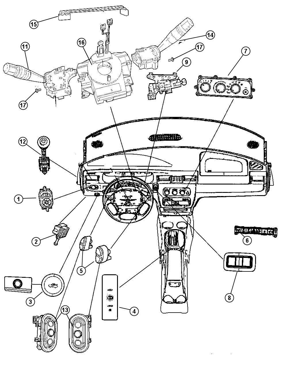 Dodge Avenger Switch. Horn. Trim: [all trim codes