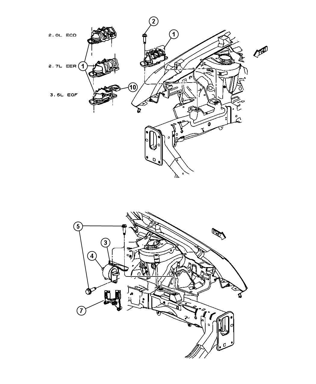 Dodge Avenger Isolator. Right, right side. [4-speed