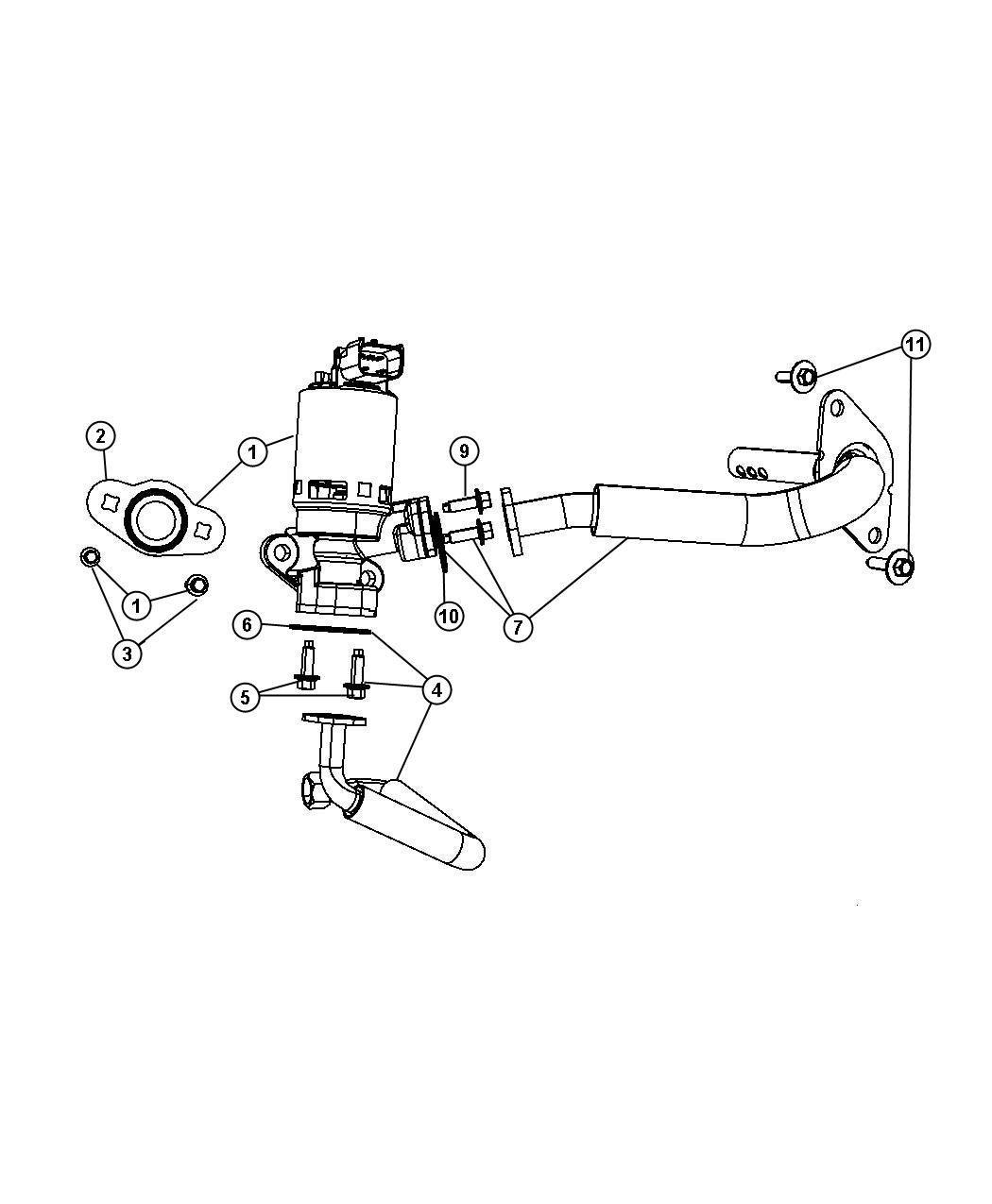 Chrysler Sebring Tube. Egr valve, egr valve to intake
