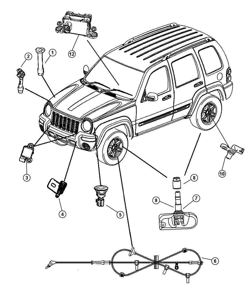 2007 Jeep Liberty Sensor. Anti-lock brakes. Right