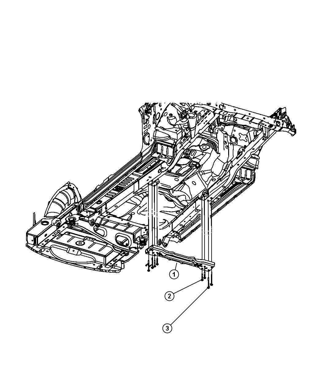 Dodge NITRO Screw. Mounting. Inboard. Crossmember
